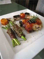 Roasted Rosemary & Madeira Chicken with Beef Wrapped Asparagus